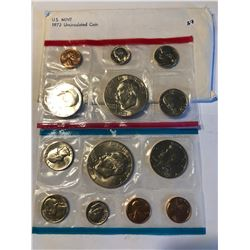 1973 US P and D Mint Set with 2 Eisenhower Dollars in Original Package