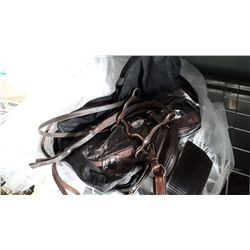 LOT OF HORSE HALTERS, LEAD ROPES, WESTERN BRIDLE CINCHES, AND COLLARS