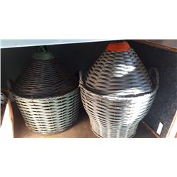 2 GLASS CARBOYS WITH WICKER PROTECTORS