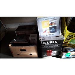 KEURIG COFFEE MAKER AND MADOLIN SLICER, TOASTER, AND BREAD MAKER