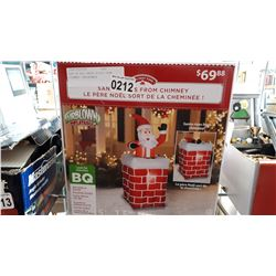 NEW IN BOX SANTA RISES FROM CHIMNEY INFLATABLE