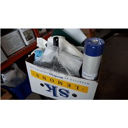 BOX OF WORK GLOVES AND CLEANING SUPPLIES