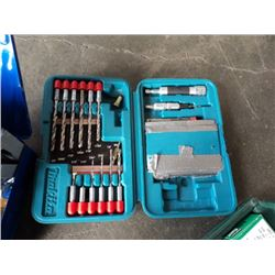 LARGE CASED DRILL BIT SET, AND 2 CASED DRILL AND BIT SETS