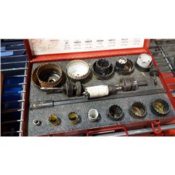 LARGE RED METAL CASED HOLE SAW KIT