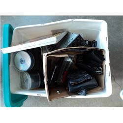 TOTE OF CAR STEREOS, SPEAKERS, TRAY OF WALLETS. BLANK CDS,