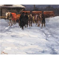 UNTITLED; TRAIN STATION IN WINTER