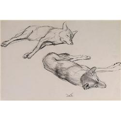 TWO SLEEPING WOLVES together with  PAINT AND CIRCUMSTANCE.  Calgary, Privately printed, 1987.