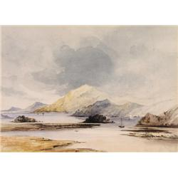 A late 19th century topographical watercolour depicting a scene with sailing ships in calm waters.
