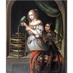 UNTITLED; GIRL FEEDING A PARROT WITH A BOY ONLOOKING