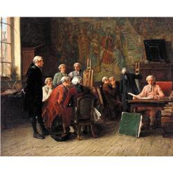 UNTITLED; GENTLEMEN EXAMINING A PAINTING