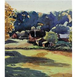 UNTITLED; VALLEY FARM WITH RAIL FENCE