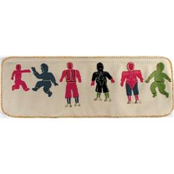 A felt, sealskin & embroidery floss wall hanging of SIX FIGURES by an unidentified Inuit artist.
