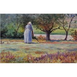 UNTITLED; WOMAN TENDING A GARDEN