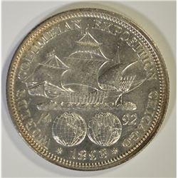 1893 COLUMBIAN COMEM HALF DOLLAR, GEM BU
