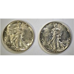 2-1941-D WALKING LIBERTY HALF DOLLARS, GEM BU