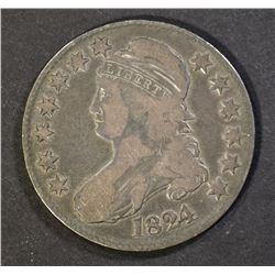 1824 BUST HALF DOLLAR, VG
