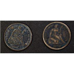 1861 XF & 1870 VG BUST HALF DIMES