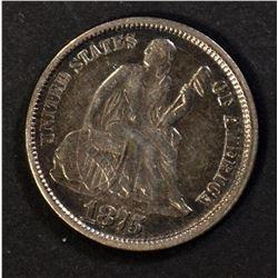 1875 SEATED DIME, XF