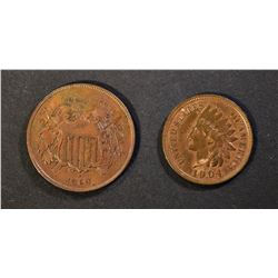 1904 INDIAN CENT CH BU++ & 1864 2-CENT XF