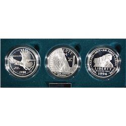1994 U.S. VETERANS PROOF 3 COIN SET