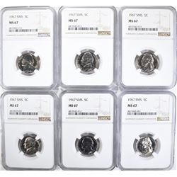 6-1967 SMS NICKELS NGC MS67