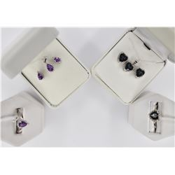 2 EARING NECKLACE AND RING SETS IN STERLING SILVER