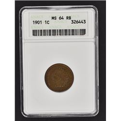 1901 INDIAN CENT ANACS  MS-64 RB