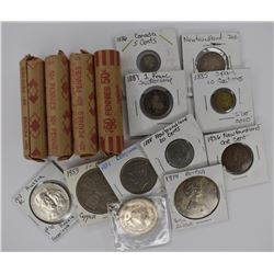 11 FOREIGN COINS & 4 ROLLS OF WHEAT CENTS