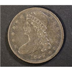 1837 REEDED EDGE HALF DOLLAR, XF