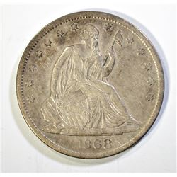1868-S SEATED HALF DOLLAR, XF