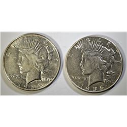 1934-S VF+ & 1935 AU PEACE DOLLARS