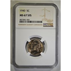 1940 JEFFERSON NICKEL, NGC MS-67 5-FULL STEPS