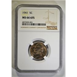 1941 JEFFERSON NICKEL, NGC MS-66 6-FULL STEPS