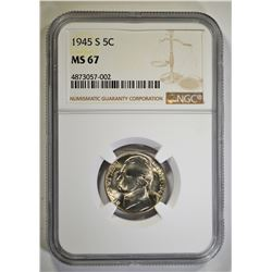 1945-S JEFFERSON NICKEL, NGC MS-67