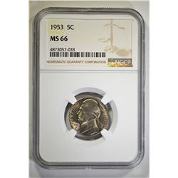 1953 JEFFERSON NICKEL, NGC MS-66