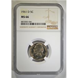 1961-D JEFFERSON NICKEL, NGC MS-66