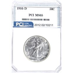 1916-D WALKING LIBERTY HALF DOLLAR, PCI GEM BU