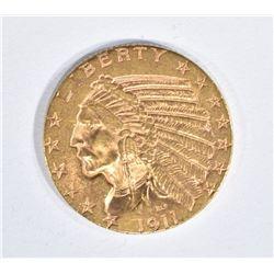 1911-S $5 GOLD INDIAN HEAD  CH BU
