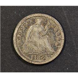 1853 NO ARROWS SEATED HALF DIME,