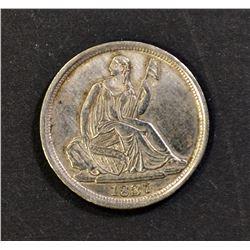 1837 HALF DIME, XF/AU