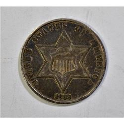 1860 3-CENT SILVER, XF