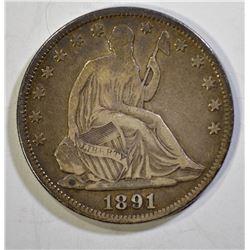 1891 SEATED HALF DOLLAR, VF