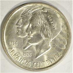 1937-S ARKANSAS COMMEM HLAF DOLLAR, GEM BU