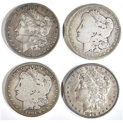1879 AU, 91-O VG, 96-O VF & 04-S VG MORGAN DOLLARS