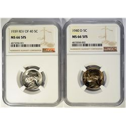 1939 REV OF 40 & 40-D JEFFERSON NICKELS, NGC MS-66