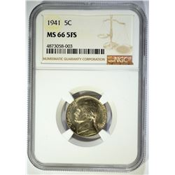 1941 JEFFERSON NICKEL, NGC MS-66 5-FULL STEPS