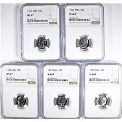 5-1965 SMS DIMES NGC MS67
