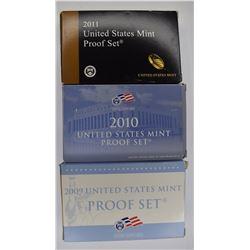 2009, 10 & 11 U.S. PROOF SETS IN ORIG PACKAGING