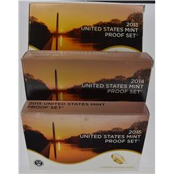 2013, 14 & 15 U.S. PROOF SETS IN ORIG PACKAGING