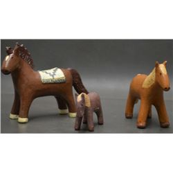 THREE NAVAJO INDIAN POTTERY HORSES (MANYGOATS)
